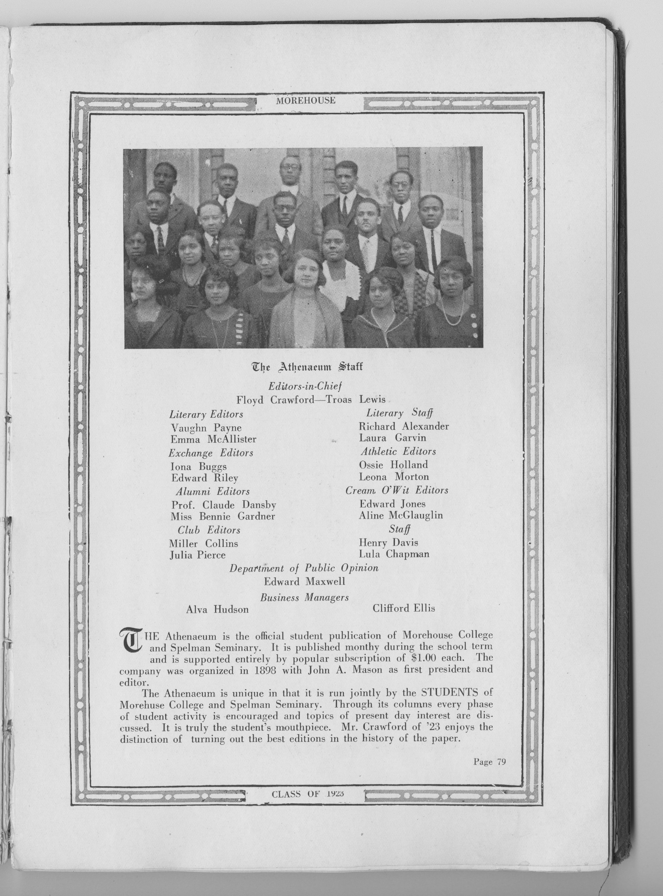 Page from the 1923 Torch Yearbook<br />