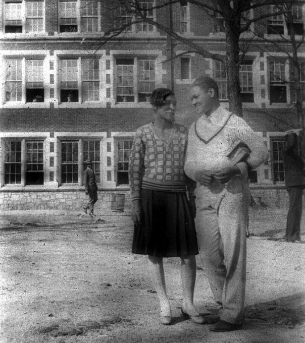 Arthur Benson, captain of Clark's football team with Georgia Walker, whom he later married, 1928<br />