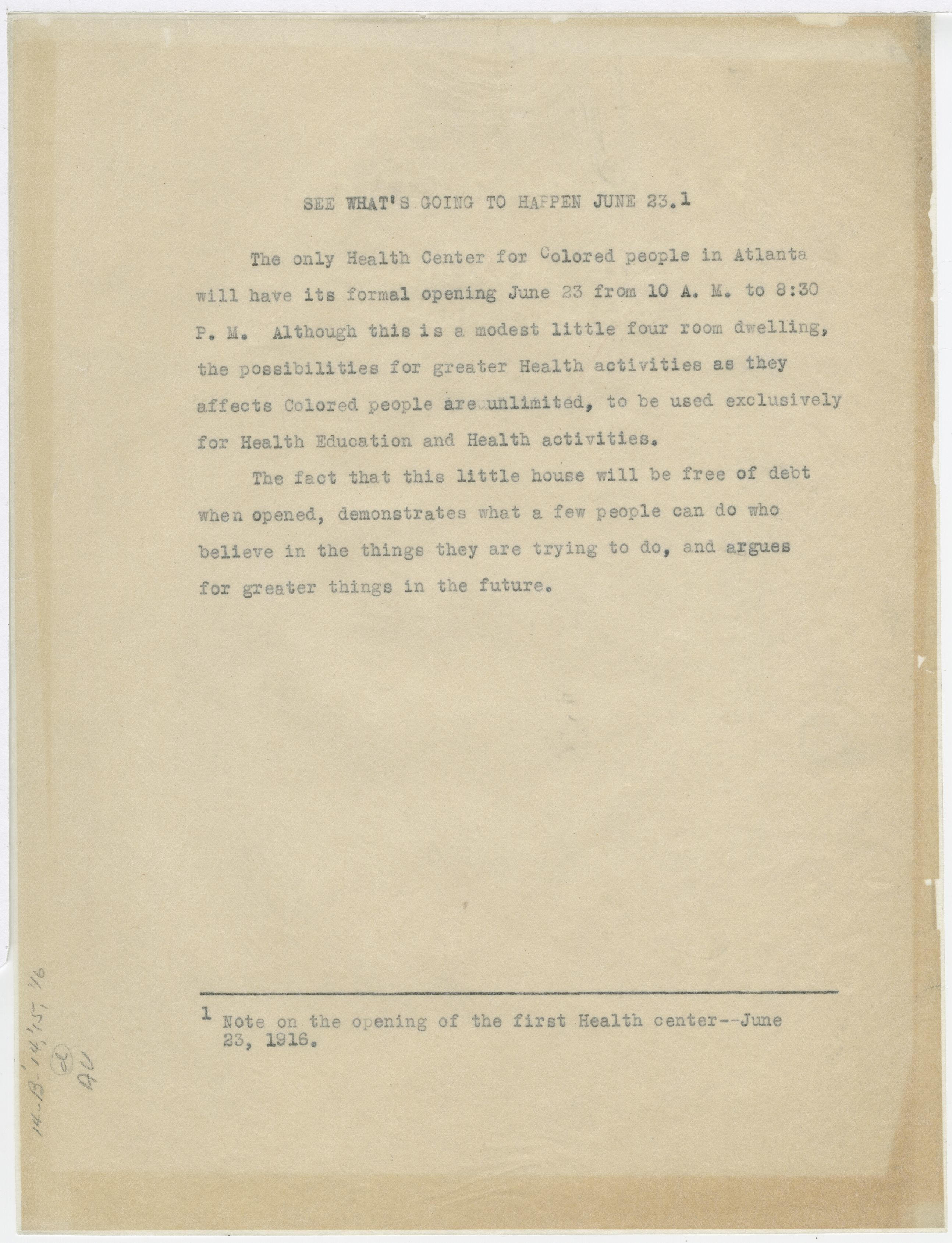 Note on the Opening of the First Health Center