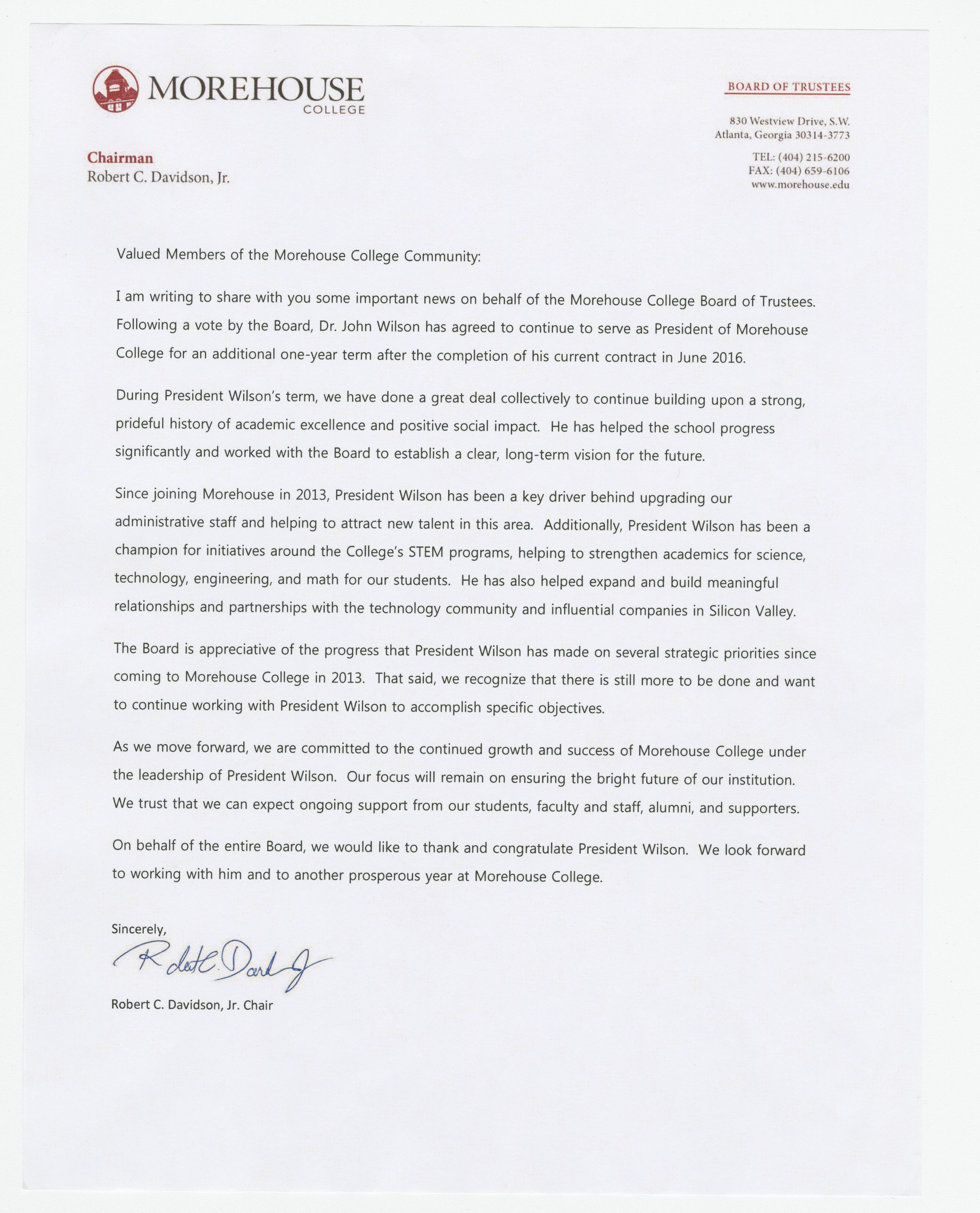 Letter from Robert C. Davidson, Jr., Chairman of the Morehouse College's Board of Trustees; circa 2016<br />