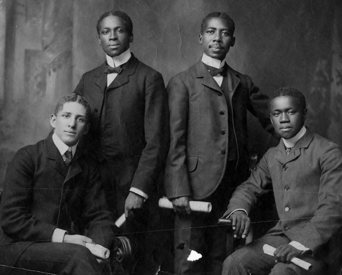 Debating team, Atlanta University, c. 1900; l. to r., H. H. Pace, S. P. Oliver, Peter Williams, R. M. Smith<br />