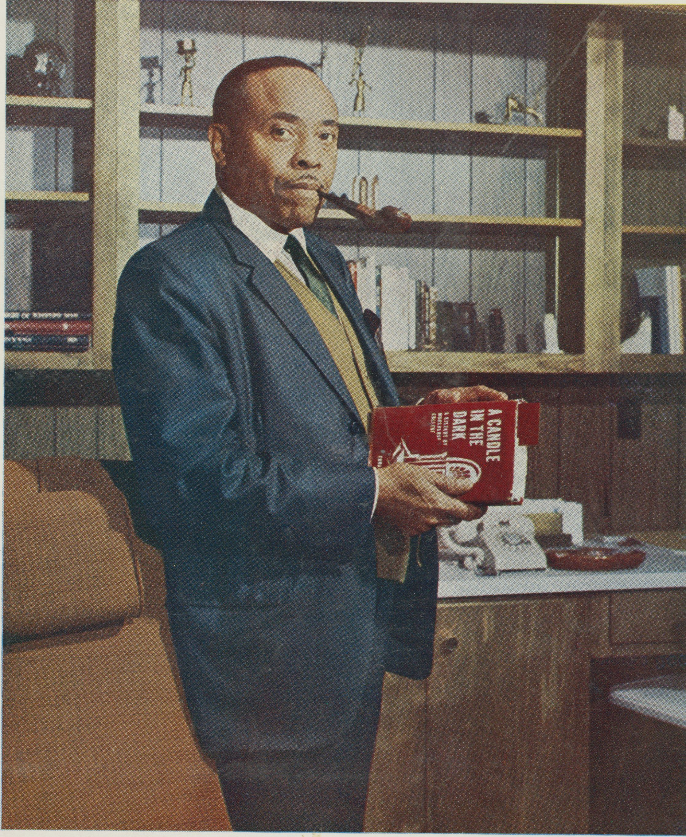 "Dr. Edward A. Jones with Morehouse ""A Candle in the Dark.""; 1967<br />"