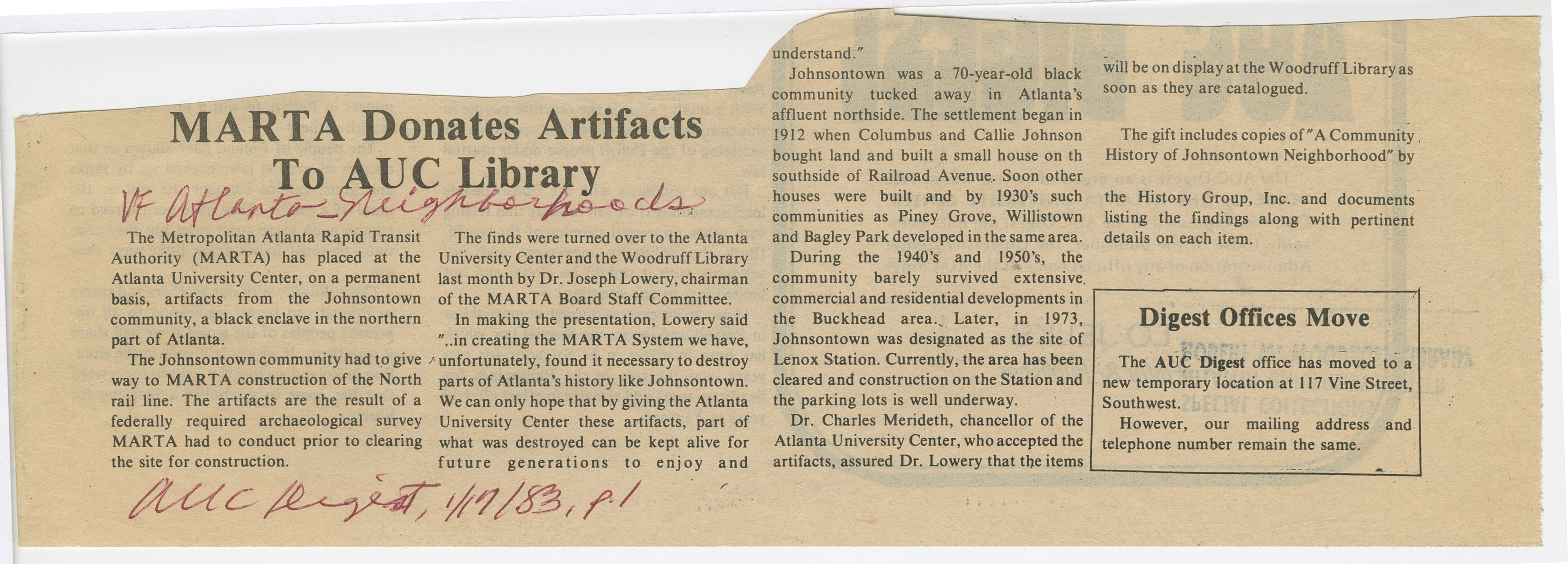 MARTA Donates Artifacts to AUC Library