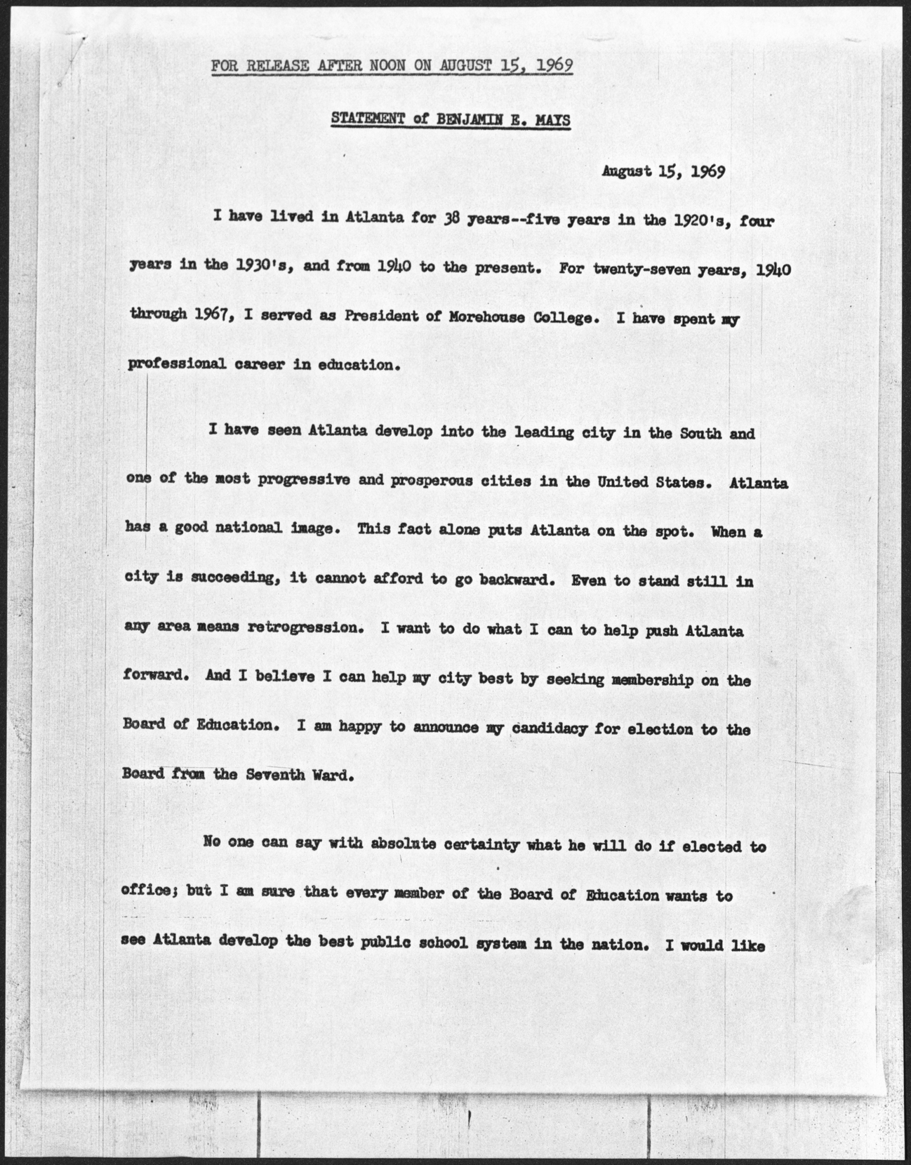 Statement of Benjamin E. Mays