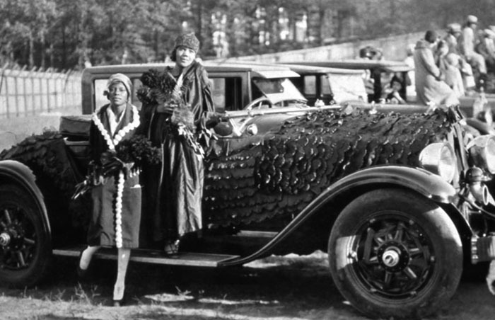 Homecoming queen Irene Burch Williams, and runner up Lithia Bailey, Clark, 1928<br />