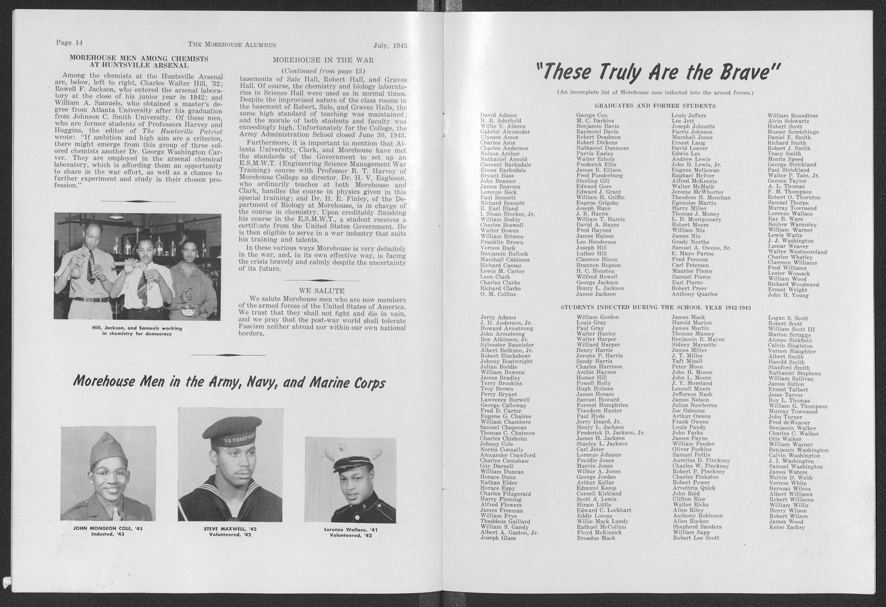 """These Truly Are the Brave"" from the Morehouse Alumnus; 1943"