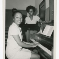 Music Instructor Cicily Beasley and Unidentified Young Woman