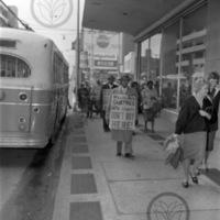 John Wesley Dobbs, W.H. Borders and John Calhoun walking picket line