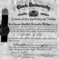 Diploma of Neil Alexander Bridges, Clark University, 1910<br />