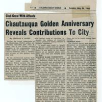 """Chautauqua Golden Anniversary Reveals Contributions to City"""
