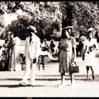 Families of graduates at commencement reception, Morehouse, c. 1940's.<br />