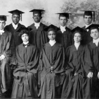 Class of 1903, Atlanta University.  Front row, l. to r. Henry Pace, Mack, White, Davis, and White; Back row, l. to r. Westmoreland, Houston, Grant, and Overstreet