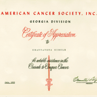 Certificate of Appreciation from the American Cancer Society, Inc.