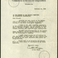 Letter from Arthur Raper to the members of the Georgia Committee on Interracial Cooperation, with report on lynching in Gerogia