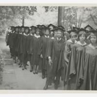 Graduates in Procession Before Entering Haven Warren Building, Davage Auditorium, at Commencement