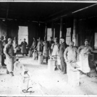 Blacksmithing class, Atlanta University, 1886<br />