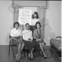 Atlanta Life Insurance Company employees posing with picket sign<br />