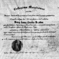 Diploma of Henry James Charles Bowden, Morehouse, 1925.<br />