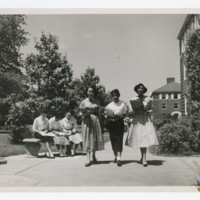 Six Young Women on Campus