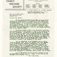 Letter from the Family Welfare Society to the Chautauqua Circle