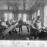 Carpentry students in lathing room of Knowles Industrial Building, Atlanta University, 1886.<br />