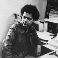 Julian Bond at typewriter