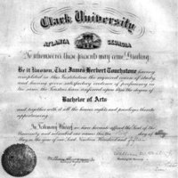 Diploma of James Herbert Touchstone, Clark, 1915; taught Greek, Latin, and science at Clark until 1923.<br />