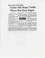 """Center Aids Negro Youths Where Riot Once Raged"""