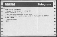 Telegram Sent to Dr. Mays from Arnold Jzurcher